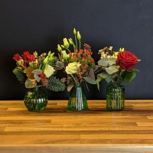 Trio of Christmas Bud Vases