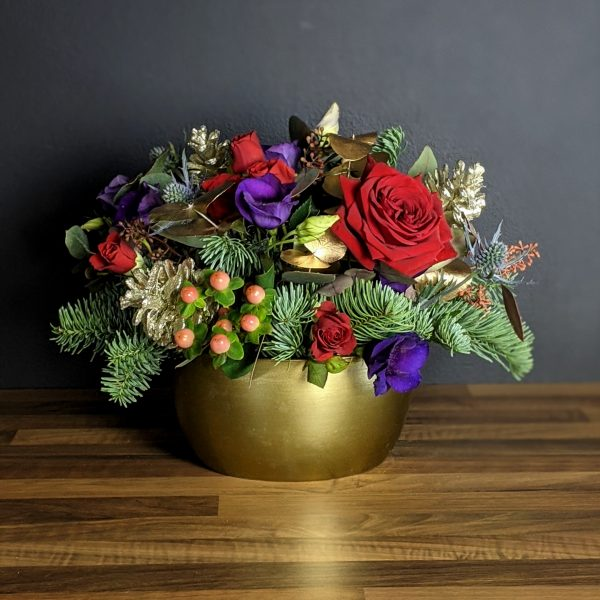 Christmas red and purple table centre